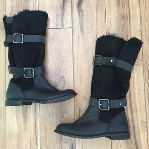 Emu Ambrose Sheepskin Black Boots, Sz 7